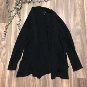 Eileen Fisher Black Open Front Cardigan Large
